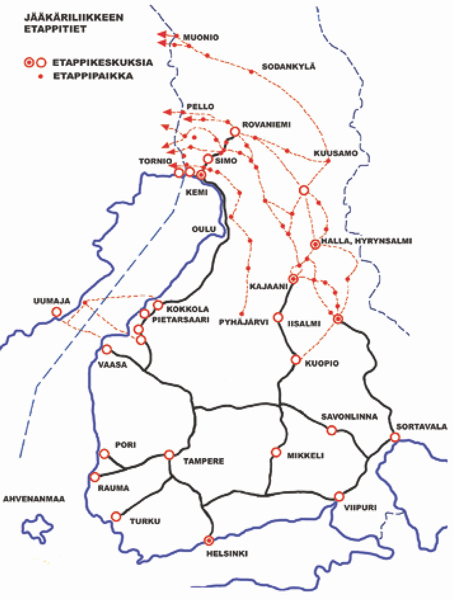 The routes for recruits from Finland into Sweden were varied