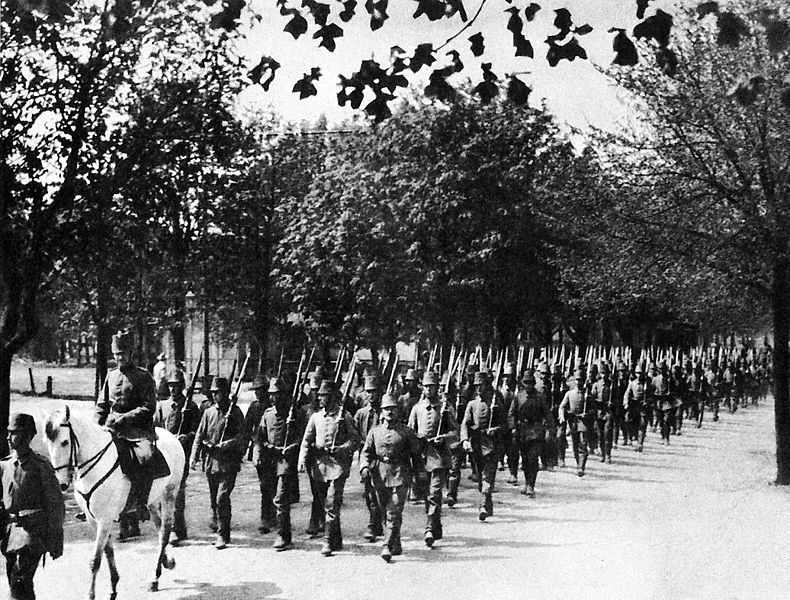 27th Jäger Battalion on a training march in Libau, Germany (East Prussia)