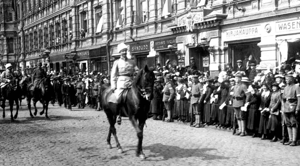 Victory War 16 May 1918 in Helsinki. General Mannerheim, riding at the head of the Finnish White Army.