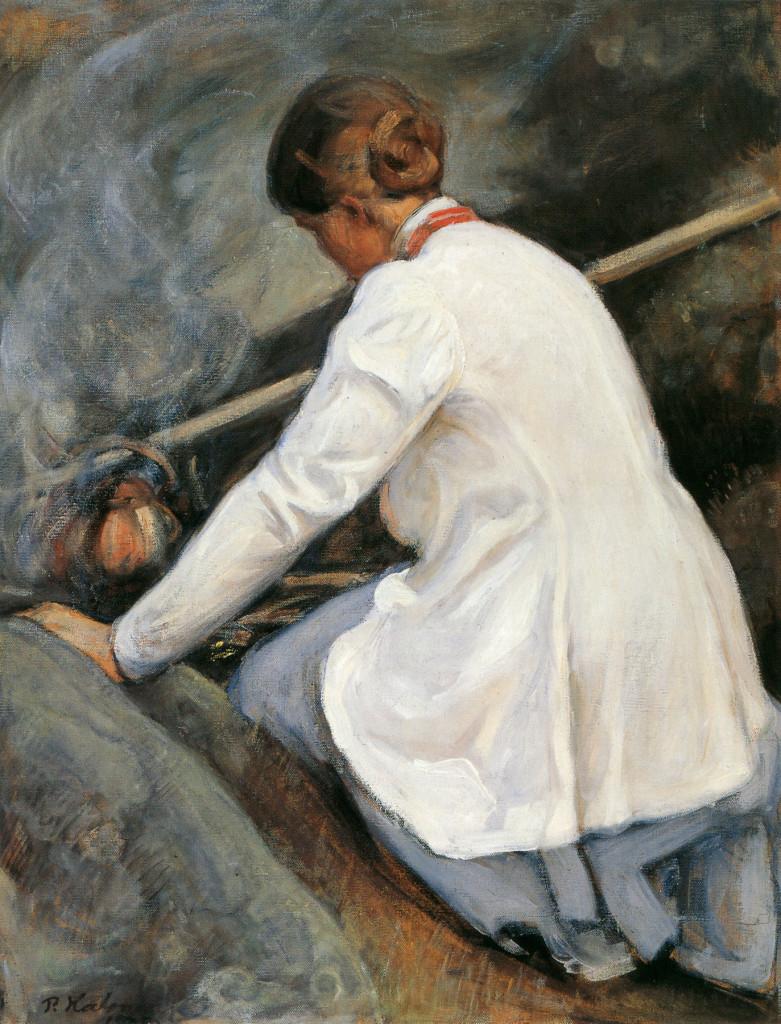 """Pekka Halonen-""""Kahvinkeittäjä (Maija-Halonen)"""" - Maija Halonen boiling coffee on the fire, 1905"""