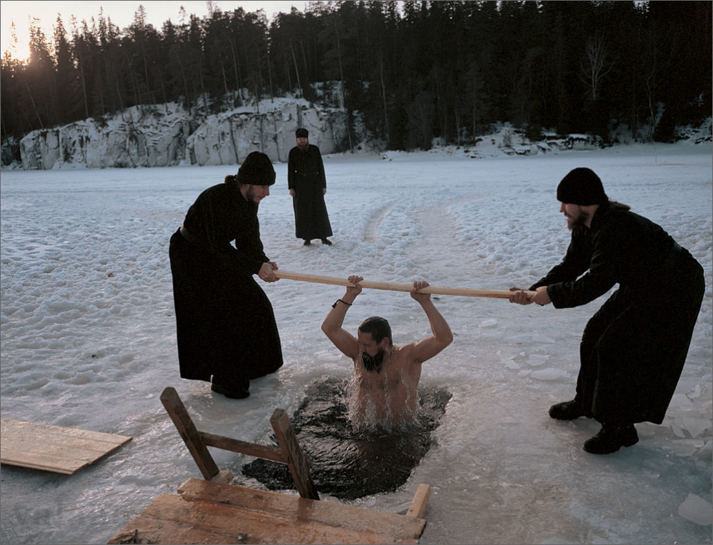 Epiphany Holy Day 2003 - Monks of the Monastery plunge in an ice-hole