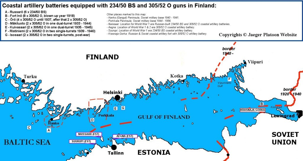 Map showing historical locations of 234-mm and 305-mm coastal artillery batteries in Finland
